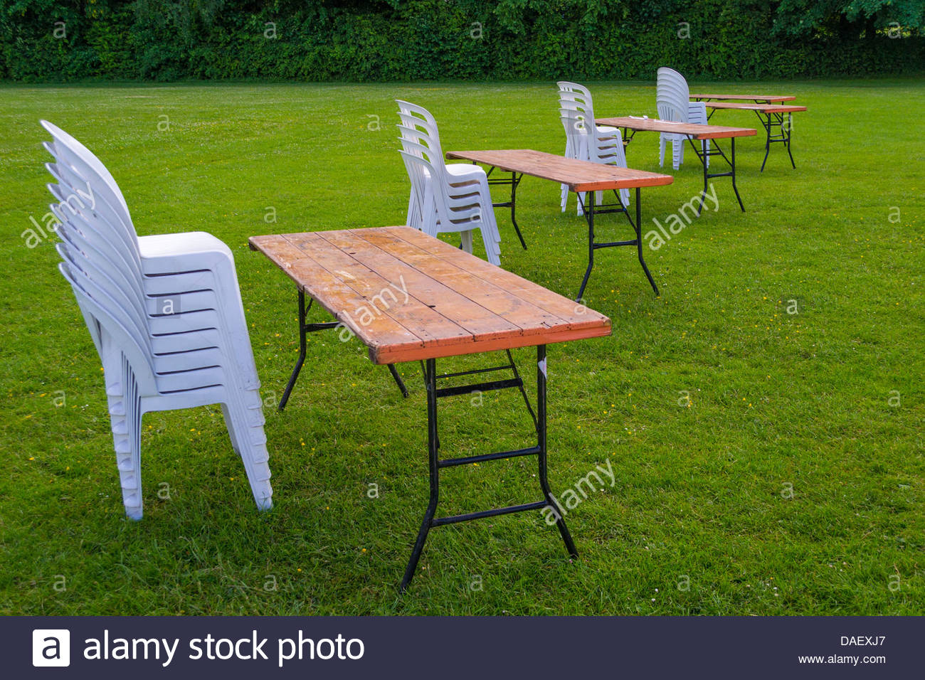 Tables And Chairs Stacked In A Line Stock Photo: 58105887 ...