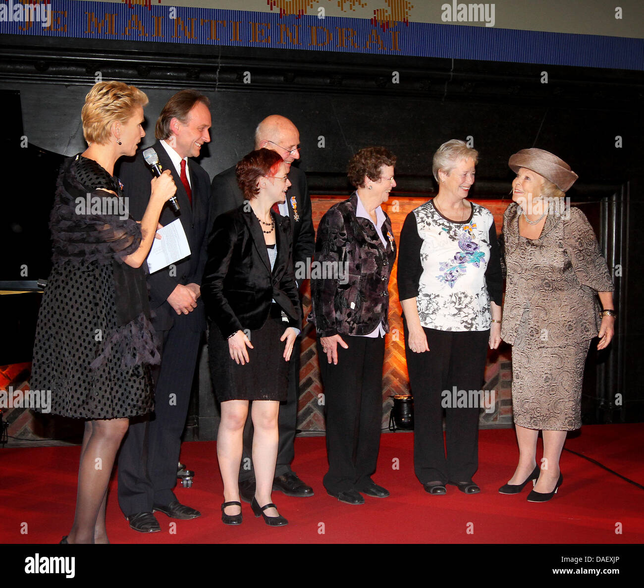 Queen Beatrix of The Netherlands (L) attends the jubilee celebration of the Rheuma Foundation in the Hall of Knights - Stock Image