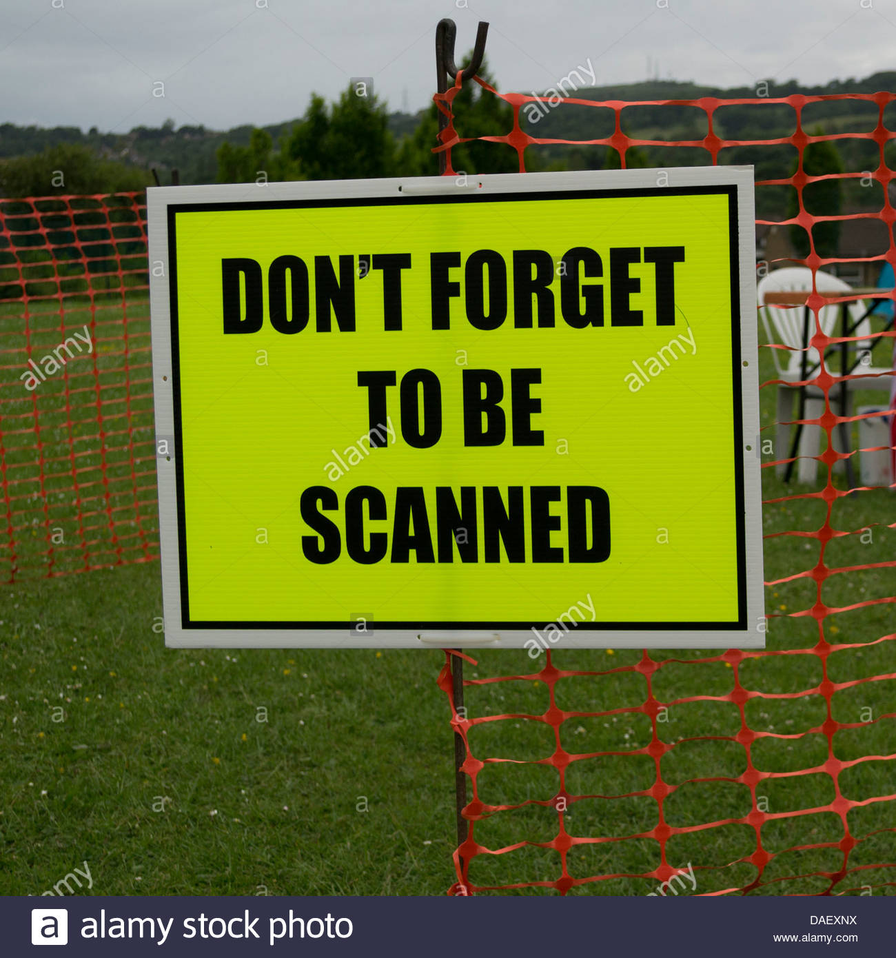 Sign at a checkpoint on the transpennine walking challenge - don't forget to be scanned - Stock Image
