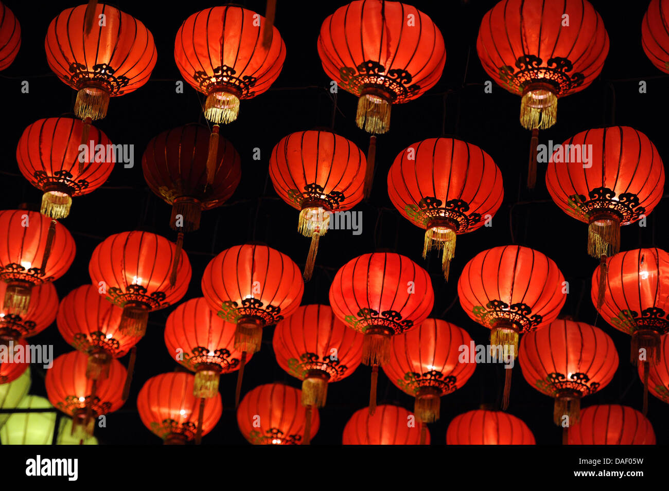 Red lanterns hang on a square for the Loy Krathong festival of
