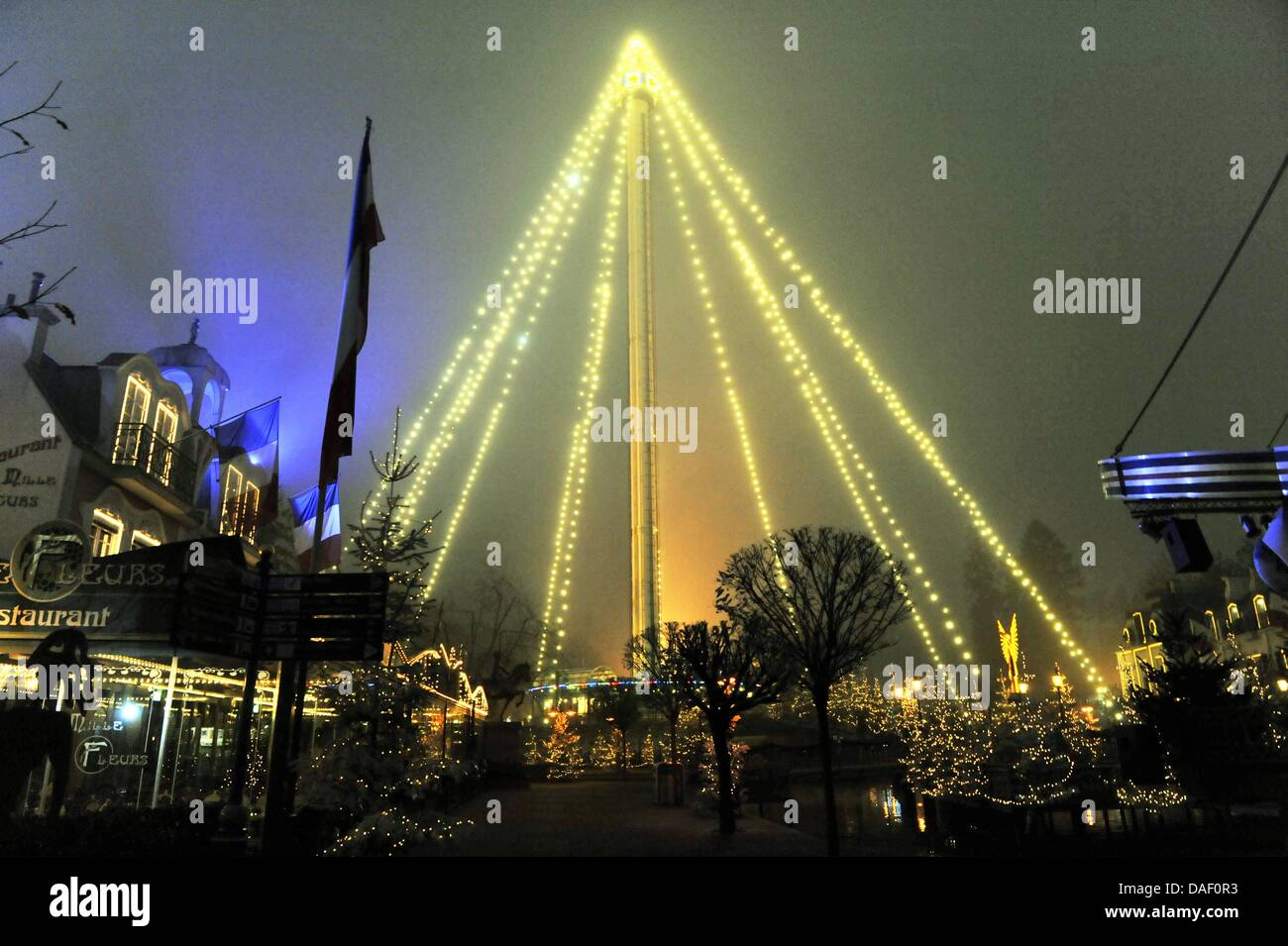 The 75-meters-high Euro Tower is decorated as an illuminated pyramid at the Europa Park in Rust,Germany, 23 - Stock Image