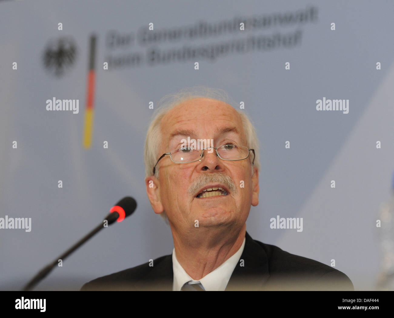German Attorney General Harald Range speaks during a press conference on the investigations into the far-right terrorist - Stock Image