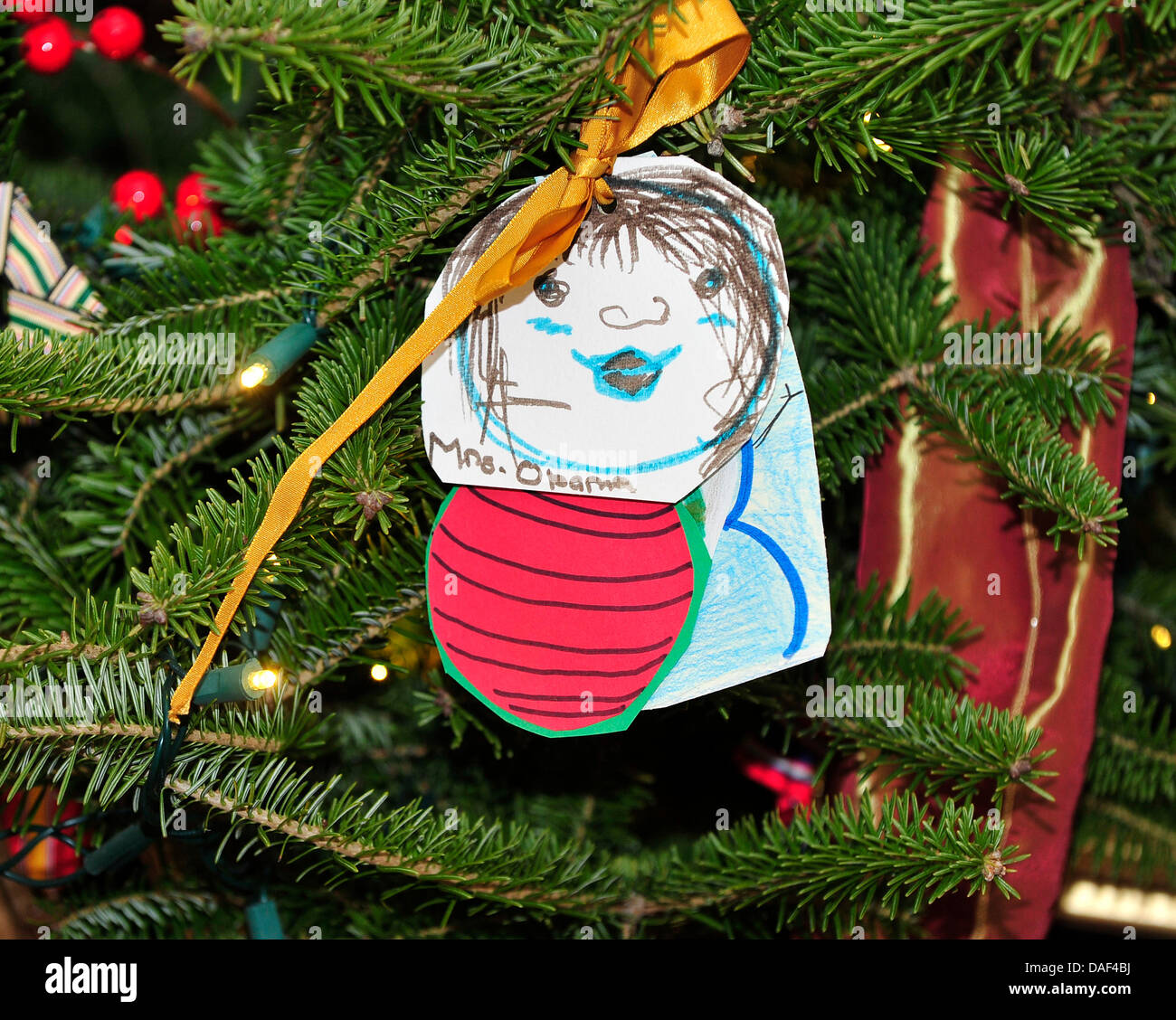 An ornament created my a military child in honor of first lady Stock ...