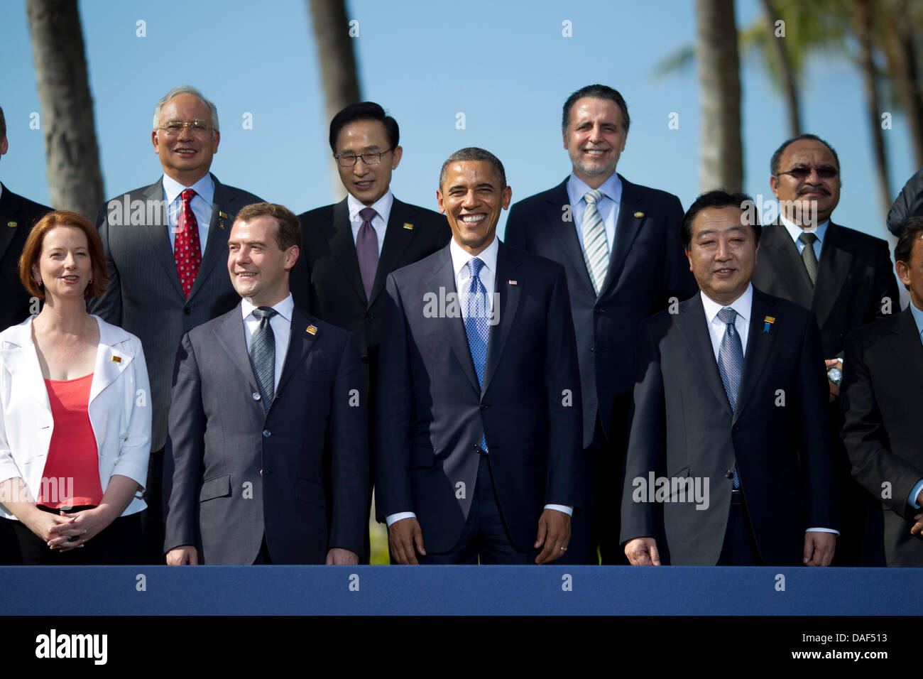 United States President Barack Obama and world leaders pose during the Asia-Pacific Economic Cooperation (APEC) - Stock Image