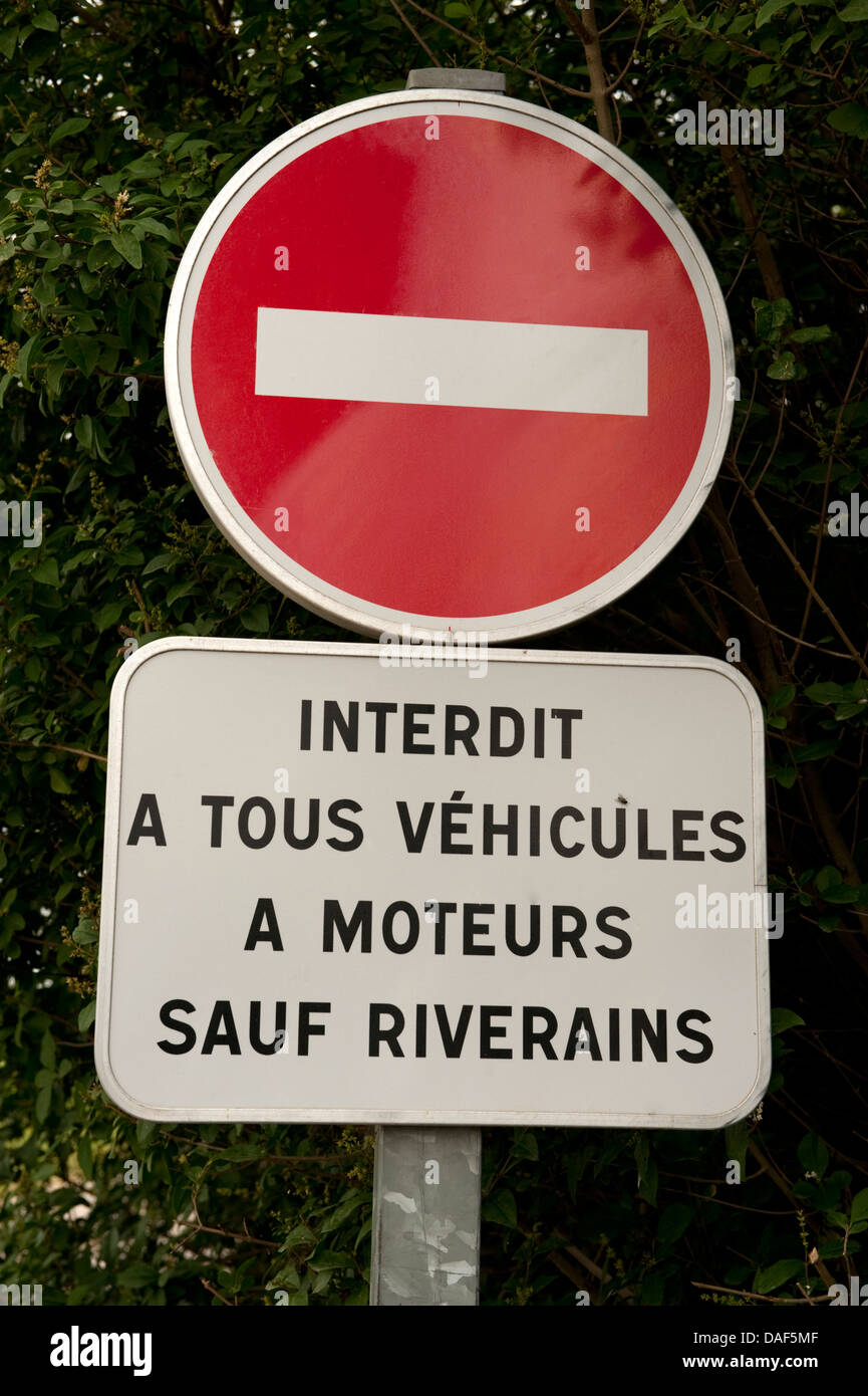 French Sign No Entry to Vehicles Fiennes France - Stock Image