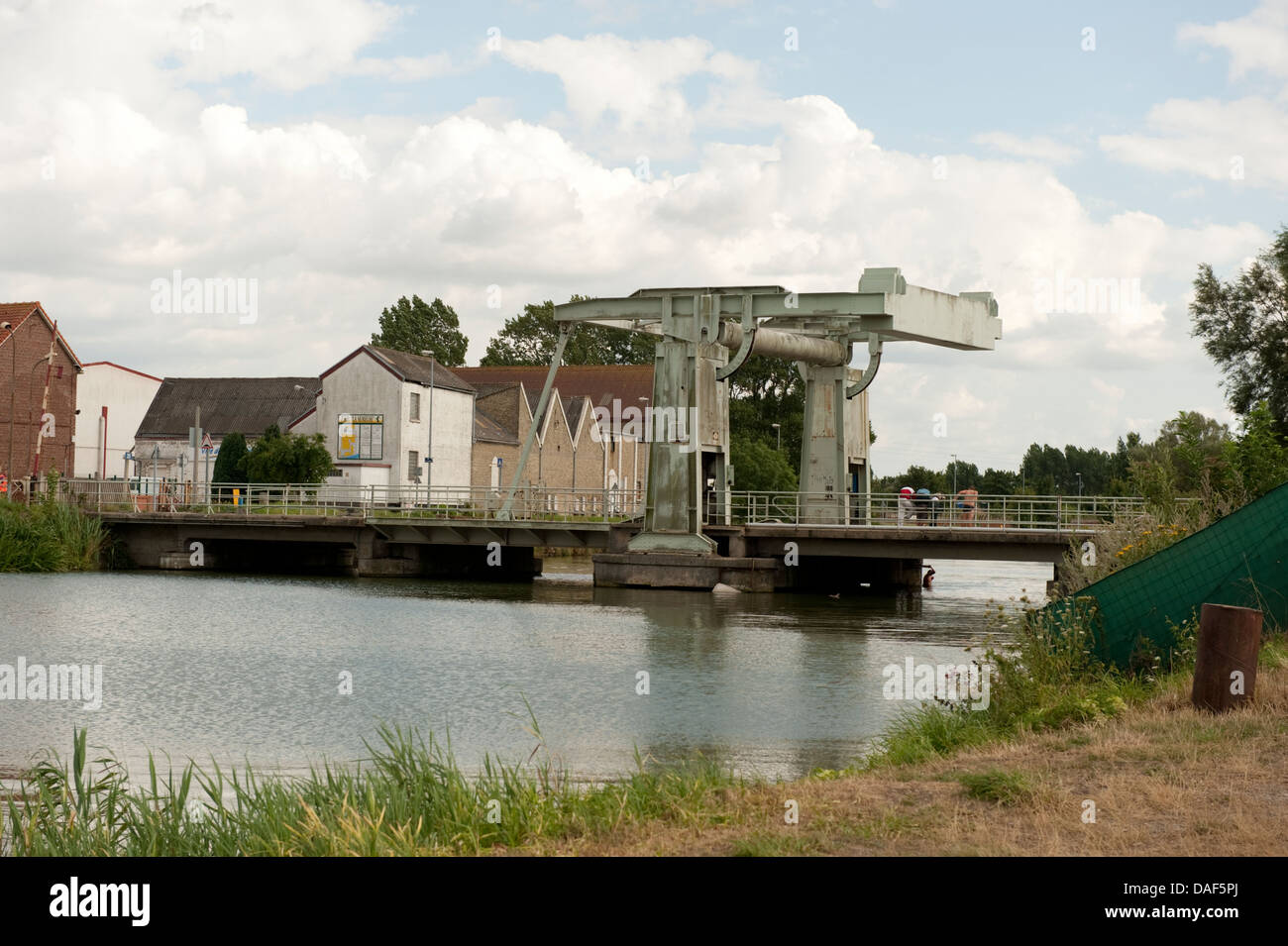 Cantilever Counterbalance Bridge Gravelines France - Stock Image