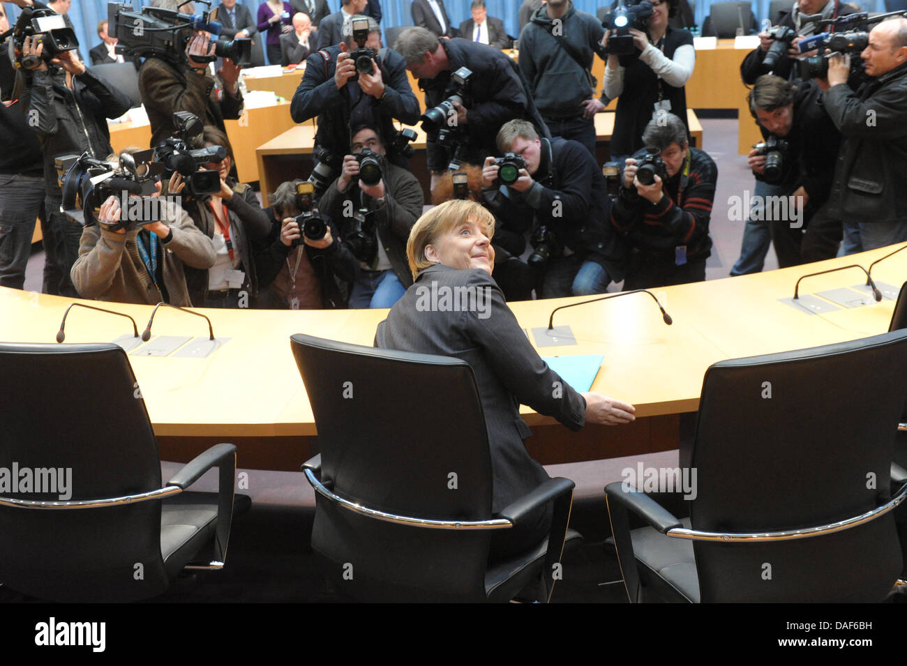 German Chancellor Angela Merkel arrives to give evidence to German Bundestag enquiry board on the German-ordered - Stock Image