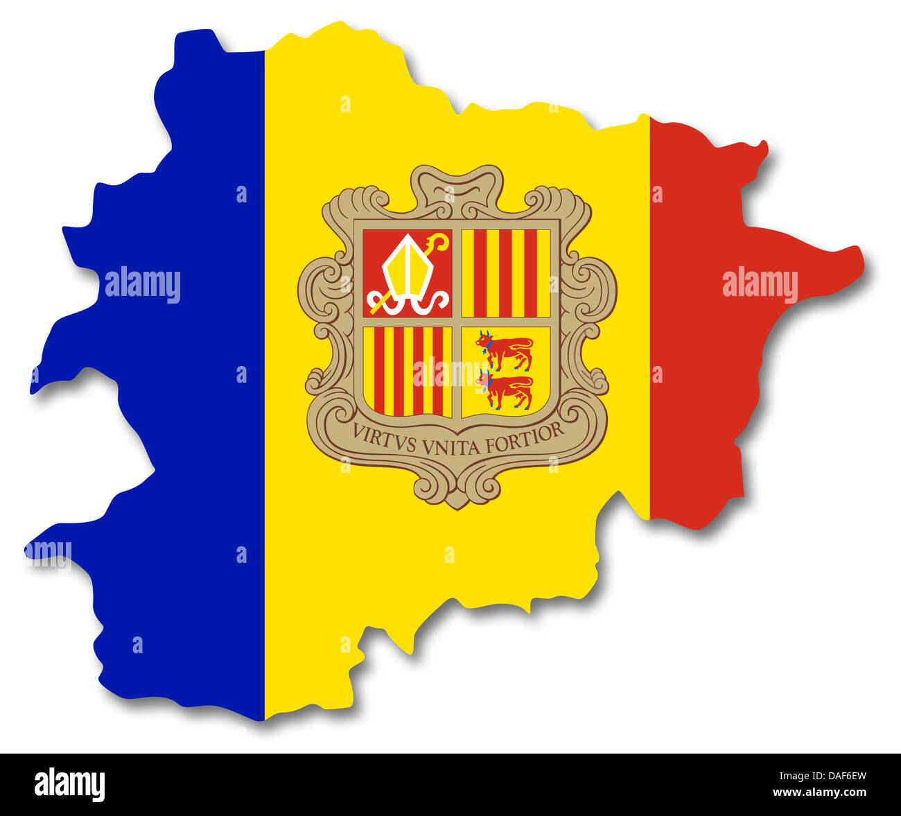 Map and flag of Andorra - Stock Image