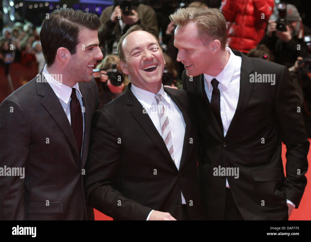 British actor Paul Bettany (L-R), US actor Kevin Spacey and US director J.C. Chandor arrive for the premiere of Stock Photo
