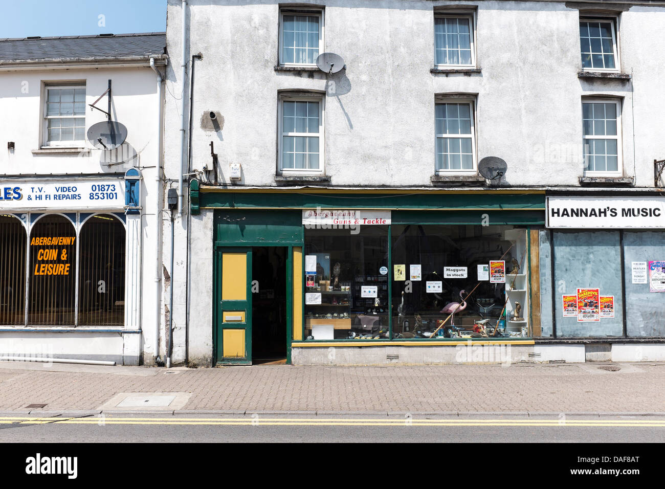 Old shop fronts in the market town of Abergavenny, Wales. - Stock Image