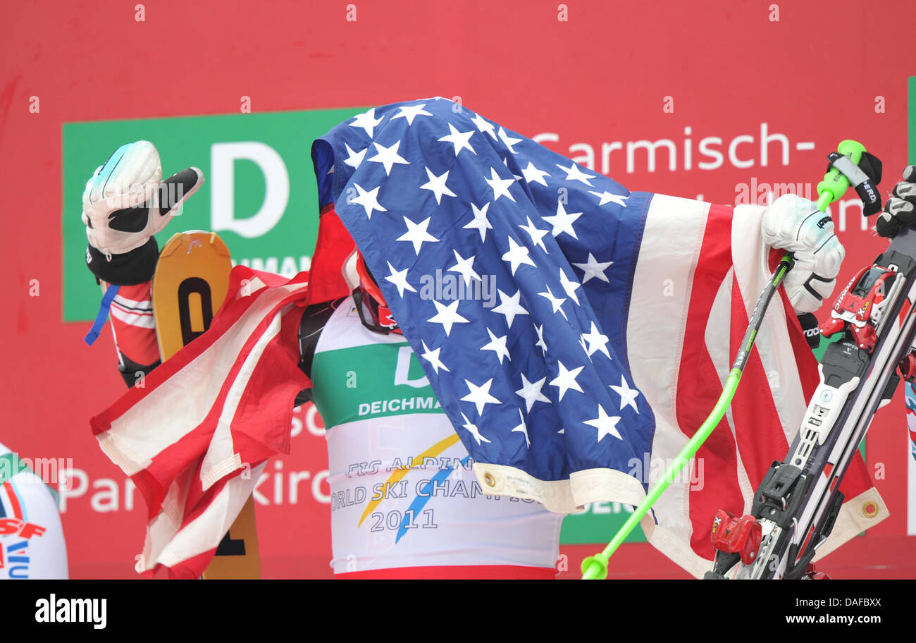 Ted Ligety of the USA celebrates on the podium after winning the Men's Giant Slalom at the Skiing World Championships Stock Photo