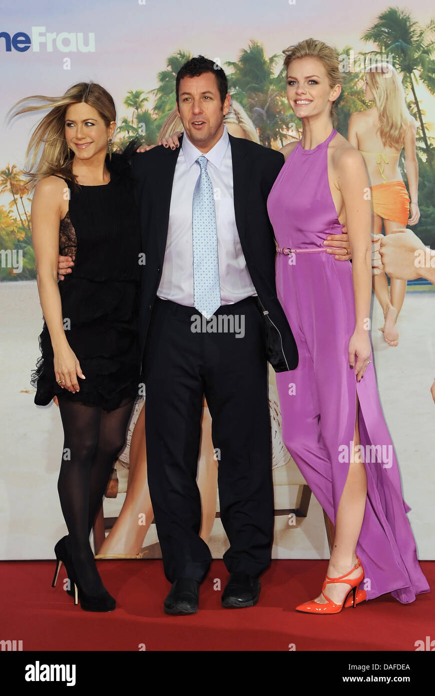 US actors (L-R) Jennifer Aniston, Adam Sandler and Brooklyn