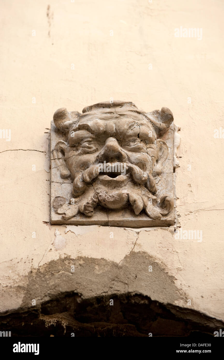 Fierce looking Gargoyle Face Montreuil France - Stock Image