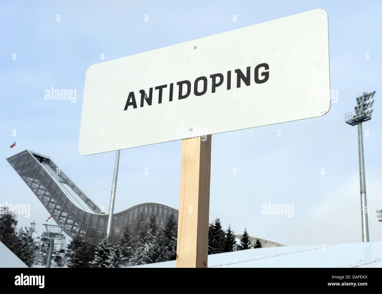An anti-doping sign is seen at the Nordic Skiing World Championships in Oslo, Norway, 23 February 2011. The International - Stock Image