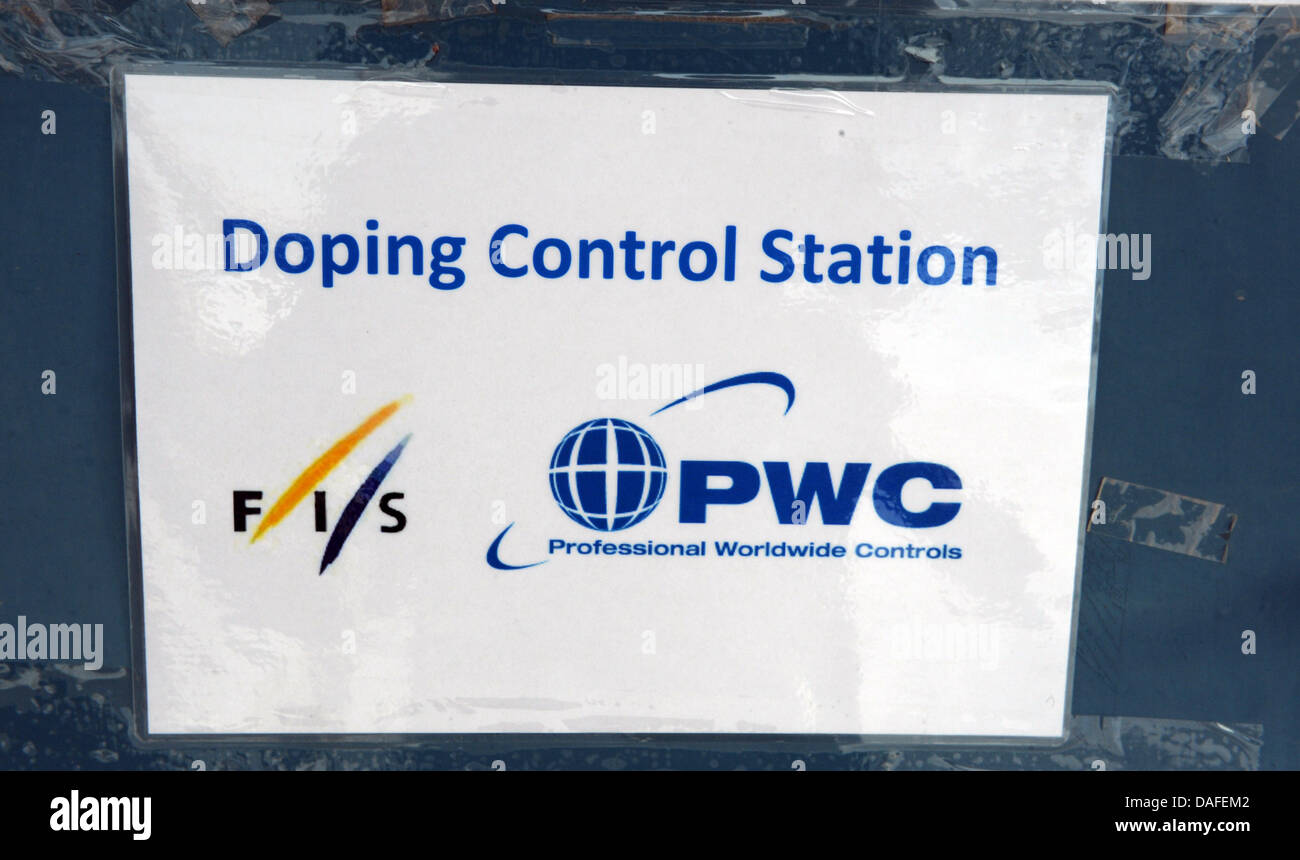 A sign of the doping control station is seen at a door at the Nordic Skiing World Championships in Oslo, Norway, - Stock Image