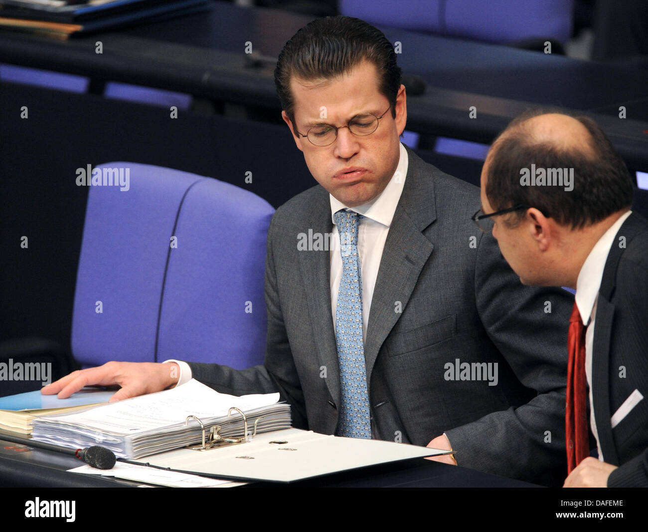 German Minister of Defence Karl-Theodor zu Guttenberg is pictured during a question time of the German Bundestag - Stock Image