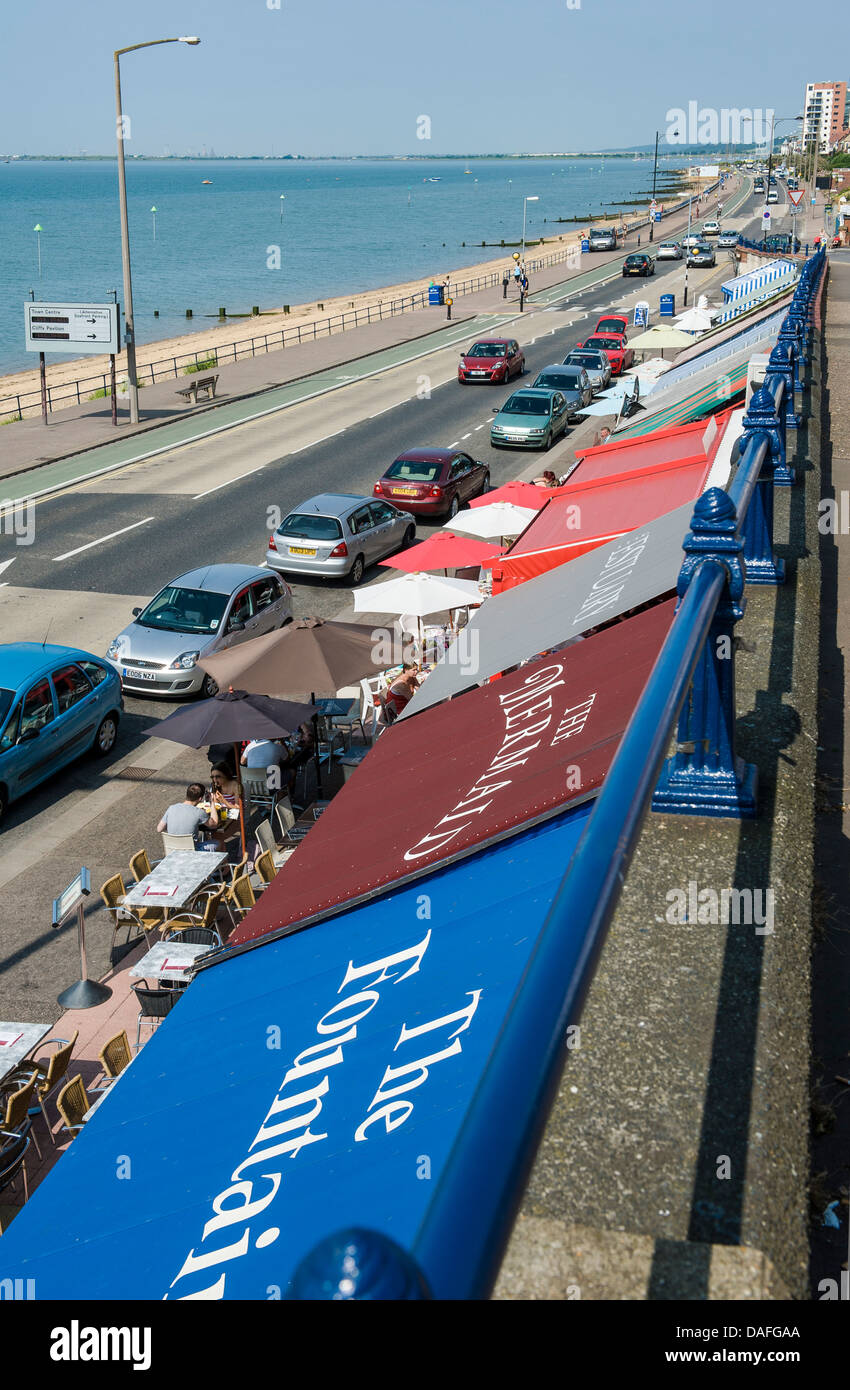 A strip of café's, along the seafront at Southend on Sea, known as 'the arches' Stock Photo