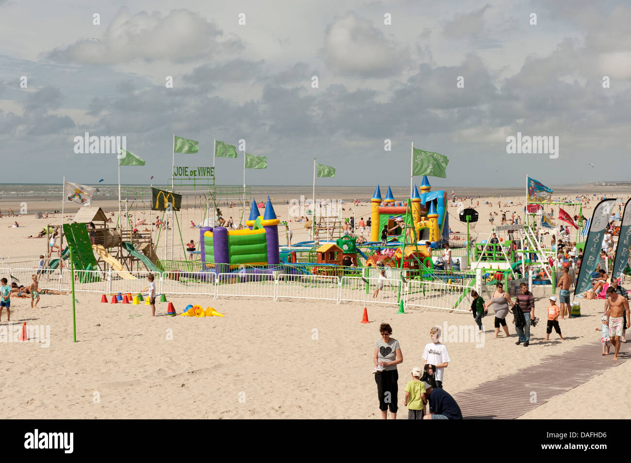 Summer busy beach scene Le Touquet France - Stock Image