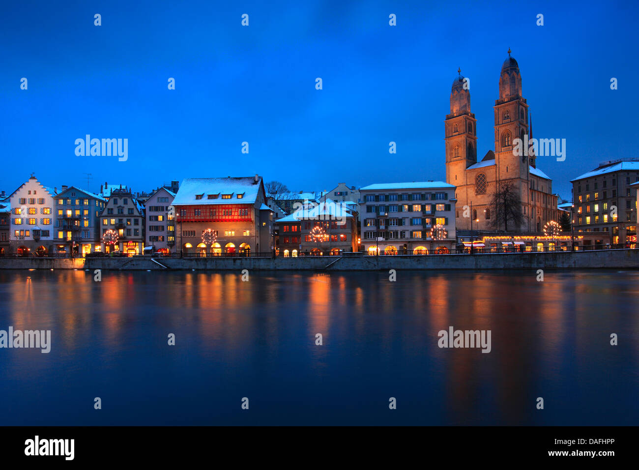 old town, Limmatquai with Guild houses and Grossmuenster, Switzerland, Zurich - Stock Image