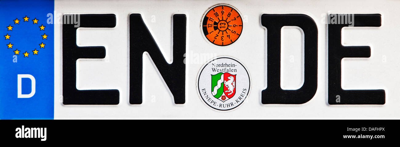 car sign ENDE, the end, Germany, North Rhine-Westphalia, Ruhr Area, Herne - Stock Image