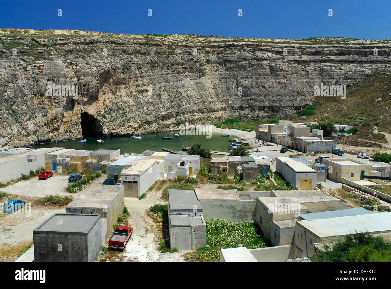 Malta, View of natural inland harbour at Azure Window - Stock Image