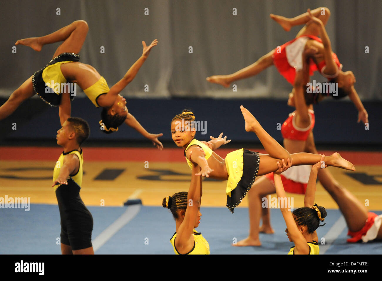 CAPE TOWN, SOUTH AFRICA - Friday 12 July 2013, members of Golden Lions Gymnastics in Johannesburg perform during - Stock Image