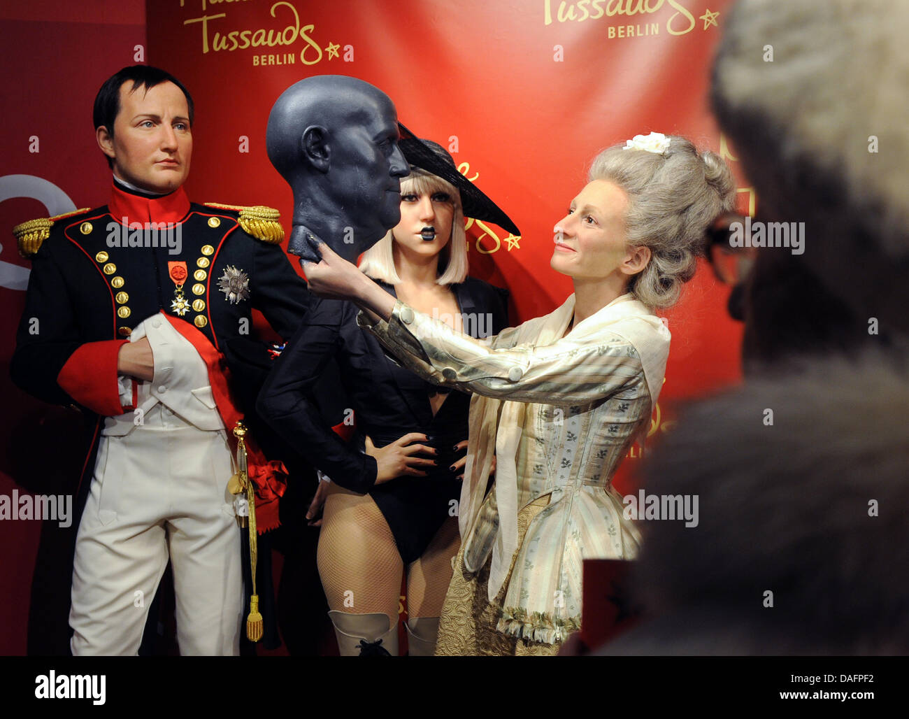 The wax figures of Napoleon Bonaparte (L-R), Lady Gaga and Madame Tussaud are on display on occasion of the 250th - Stock Image