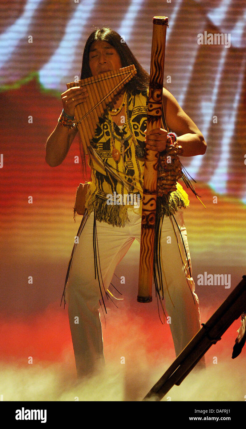 The panpipe player Leo Rojas performs on stage during the semifinal of the casting show of the private broadcaster - Stock Image