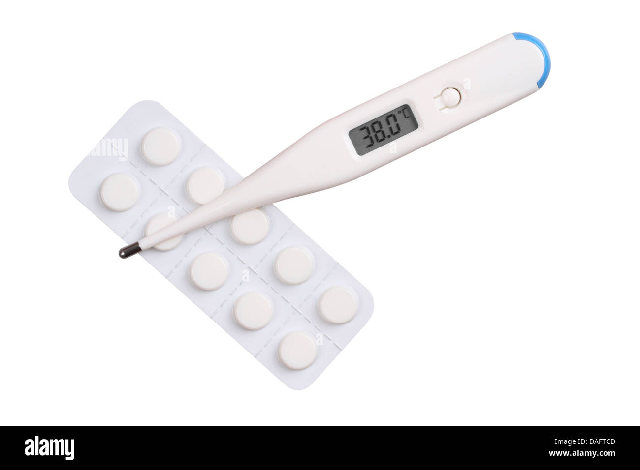 Electronic medical thermometer and pills on a white background with the testimony of the high temperature temperatyry - Stock Image