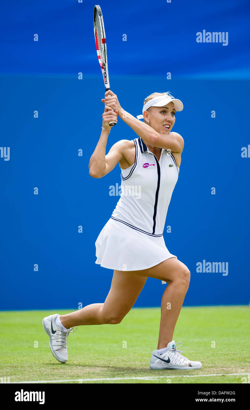 Tennis Elena Vesnina Of Russia In Action Playing Two Handed Backhand Shot During Singles Match