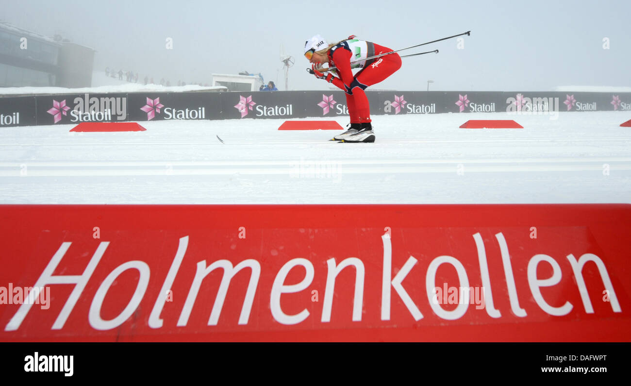 Therese Johaug of Norway competes in Women's Cross Country Relay 4x5 km Clasic/Free final competition  at the - Stock Image