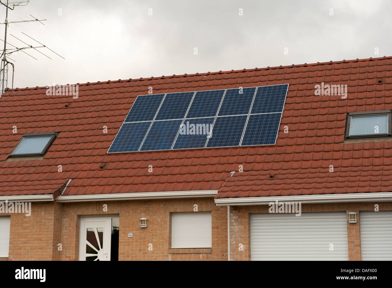 Solar Panels House Roof Campagne-les-Guines France - Stock Image