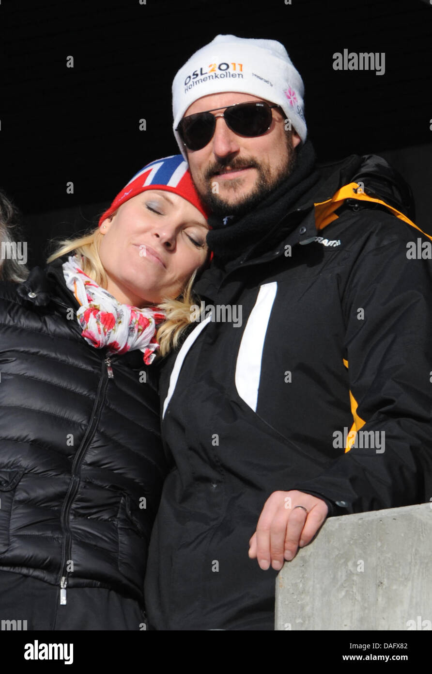 Crown Princess Mette-Marit of Norway and Crown Prince Haakon of Norway seen in the audience during the Men's - Stock Image