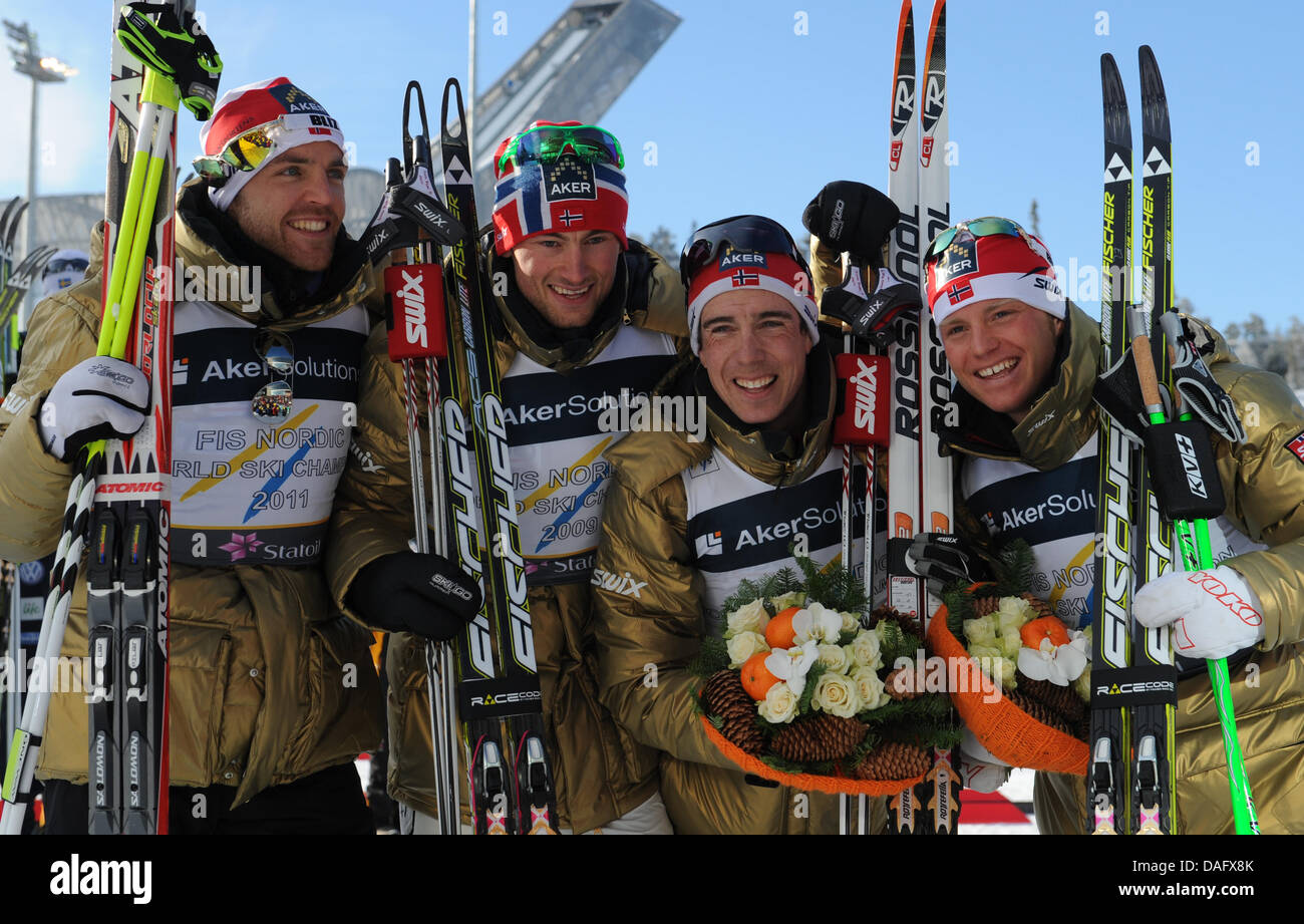 Winner Tord Asle Gjerdalen, Petter Northug, Eldar Roenning and Martin Johnsrud Sundby of Norway (L-R) celebrate - Stock Image