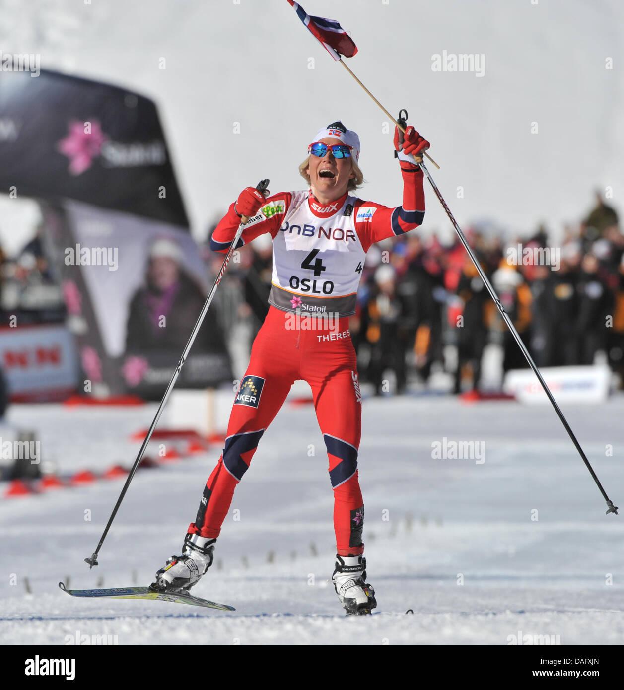 Therese Johaug Of Norway Celebrates Winningthe Cross Country Skiing Stock Photo Alamy