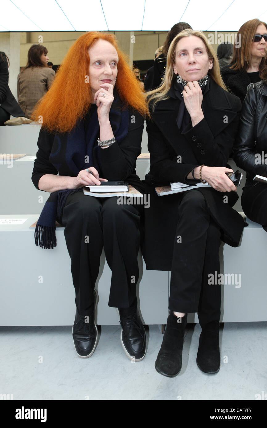 Grace Coddington (L), creative director of USVogue, attends Celine fashion house show during the Paris Fashion - Stock Image