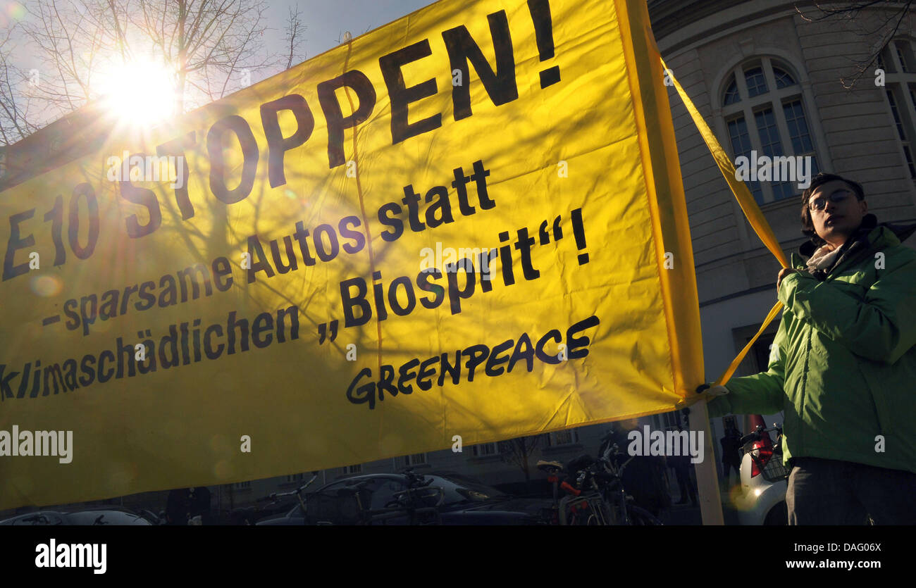 People protest against 'biofuel' Super E10 in Berlin, Germany, 08 March 2011. German federal government summoned Stock Photo