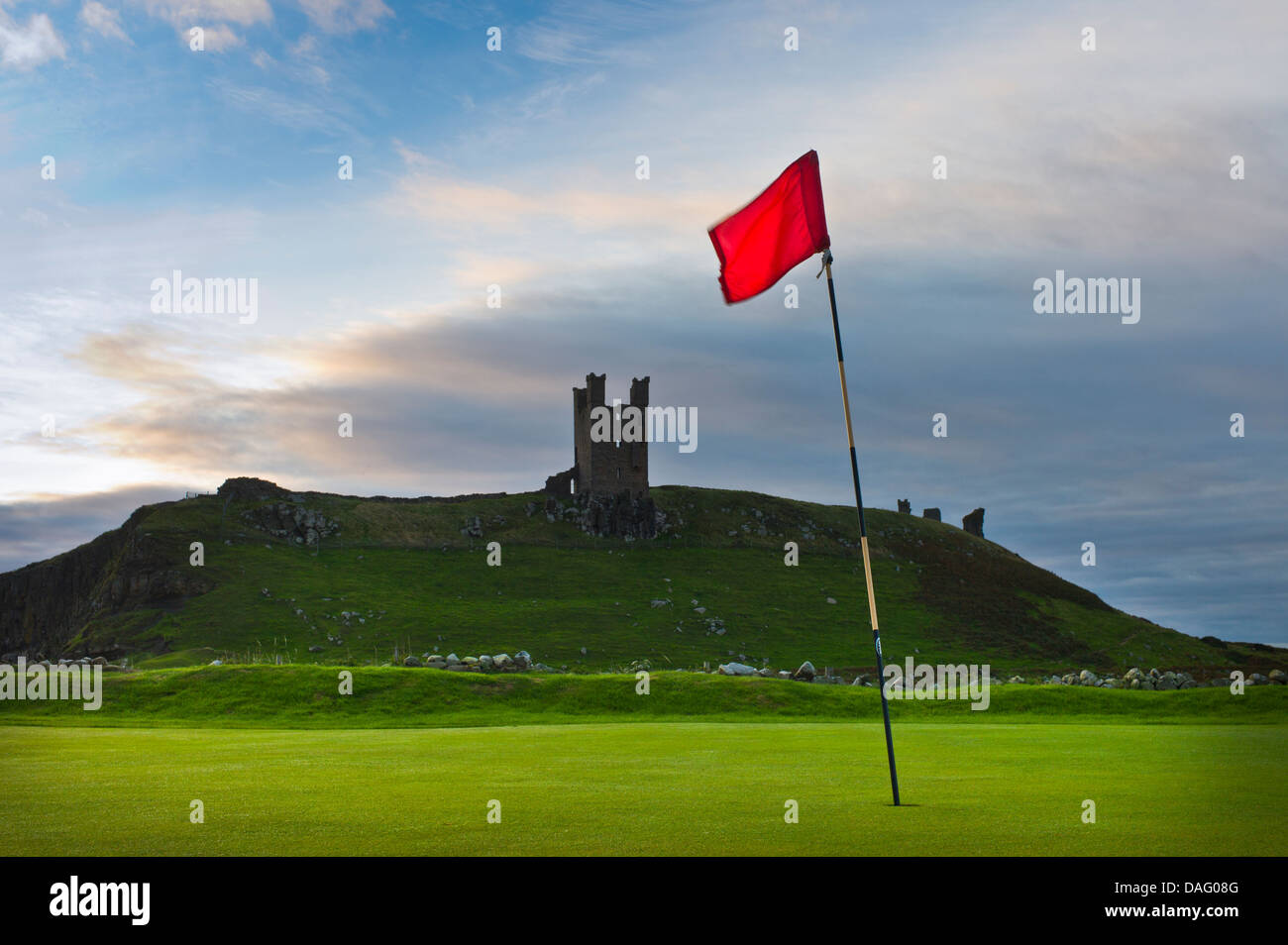 Golf flag on the course at Dunstanburgh, Northumberland. - Stock Image