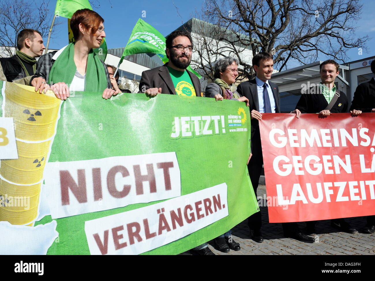 The chairwomen of the Green Party in Baden-Wuerttemberg, Chris Kuehn (3-l) and Silke Krebs (3-r) and the chairman - Stock Image