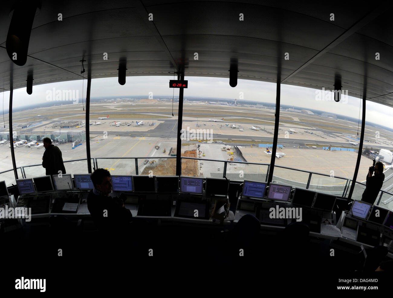 View over the runways from the control tower of Rhine Main Airport in Frankfurt Main, Germany, 18 March 2011. The - Stock Image