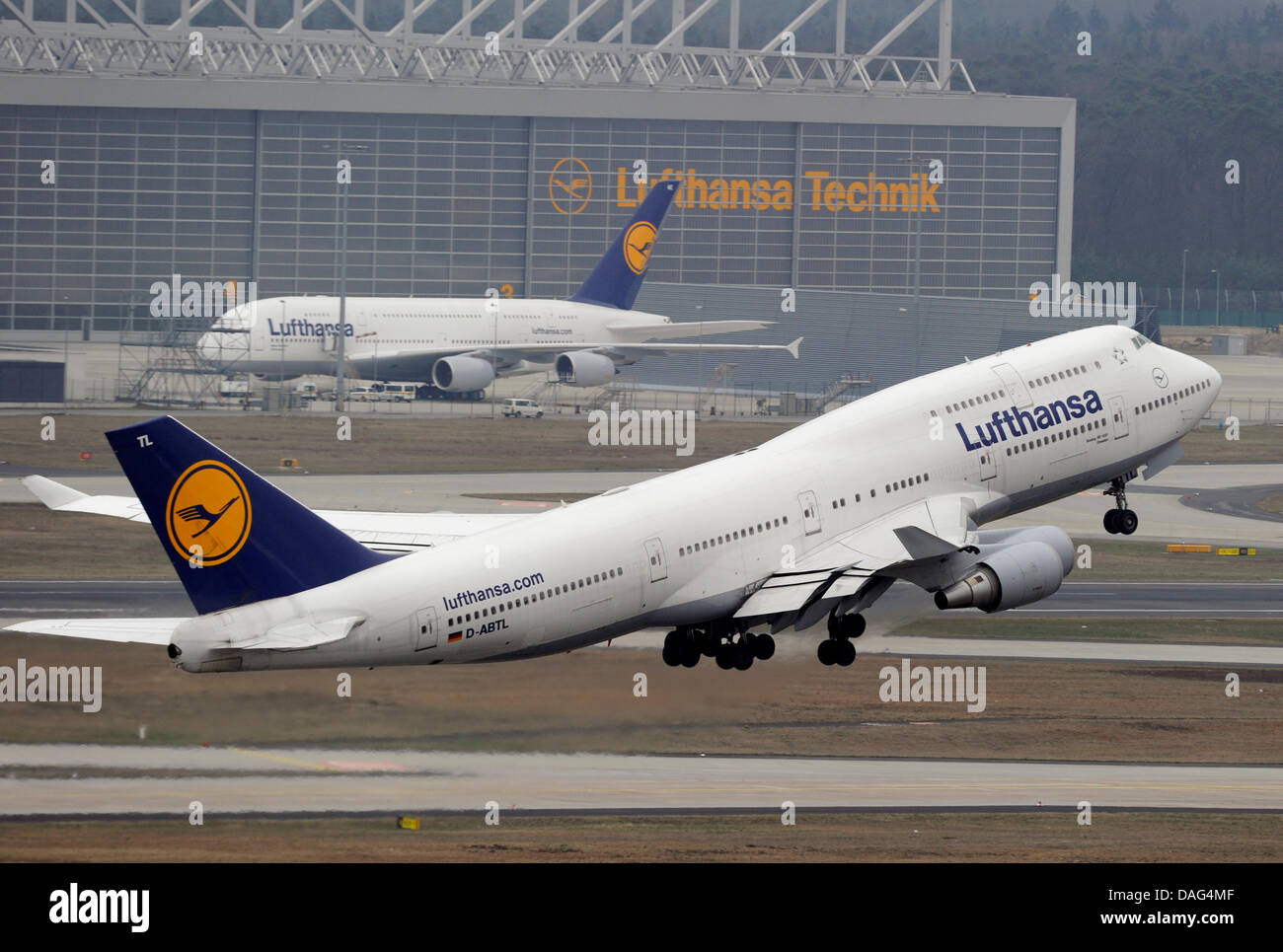 Aircrafts take off and manoeuvre pictured from the control tower of Rhine Main Airport in Frankfurt Main, Germany, - Stock Image