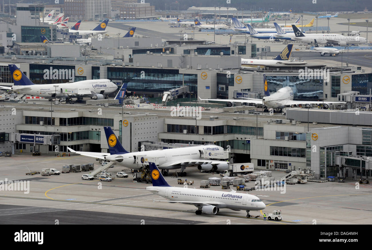 View over various gates from the control tower of Rhine Main Airport in Frankfurt Main, Germany, 18 March 2011. - Stock Image