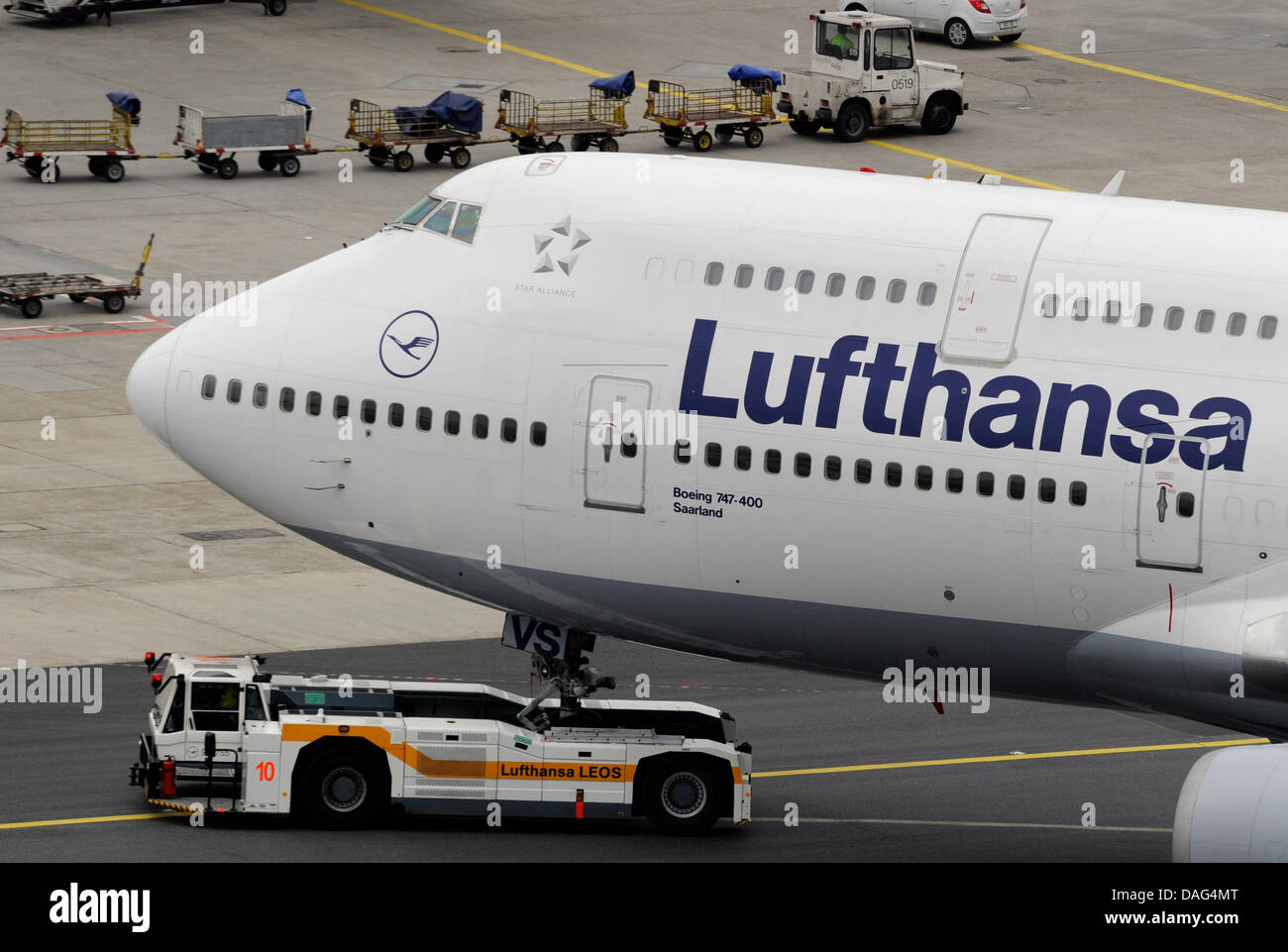 Aircrafts are manoeuvred pictured from the control tower of Rhine Main Airport in Frankfurt Main, Germany, 18 March - Stock Image