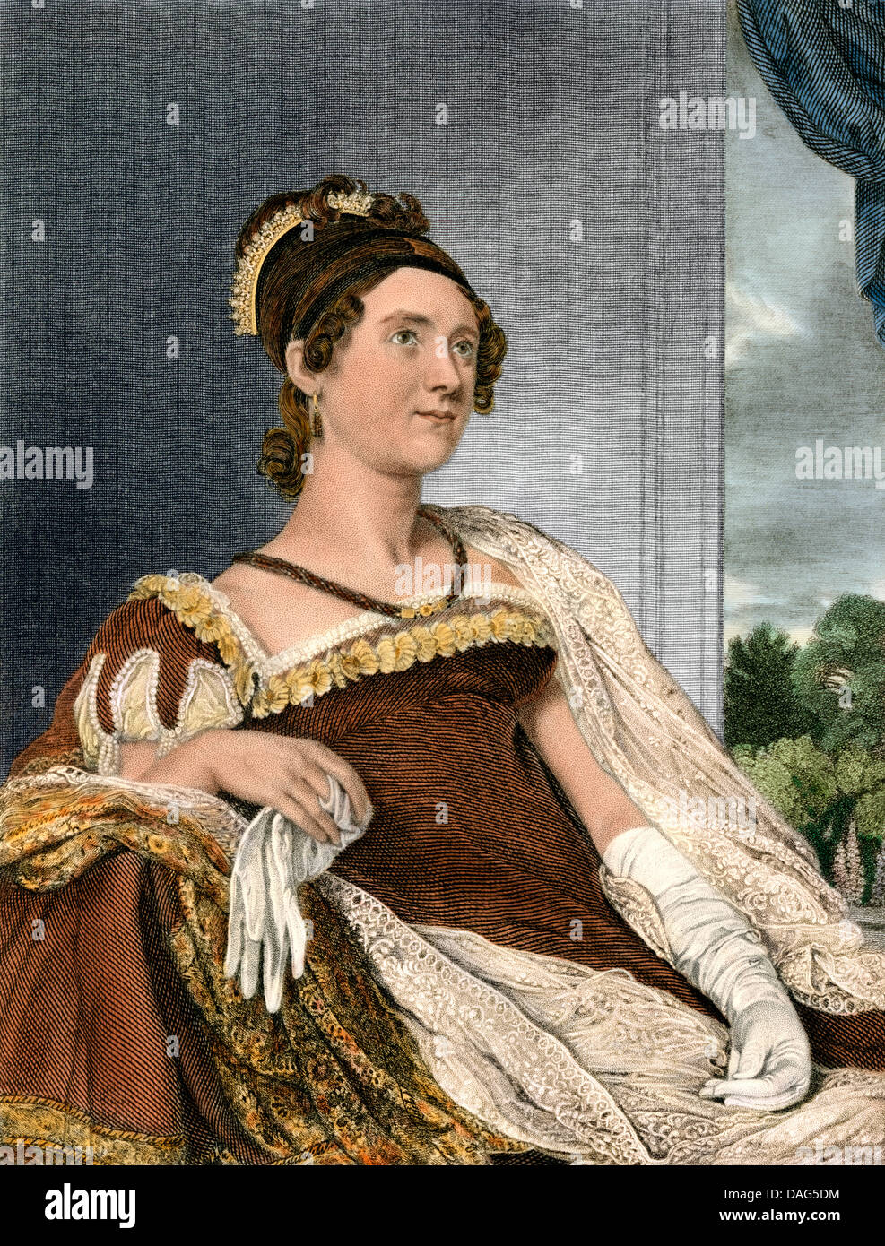 Portrait of First Lady Louisa Catherine Adams, wife of John Quincy Adams, early 1800s. Digitally colored engraving - Stock Image