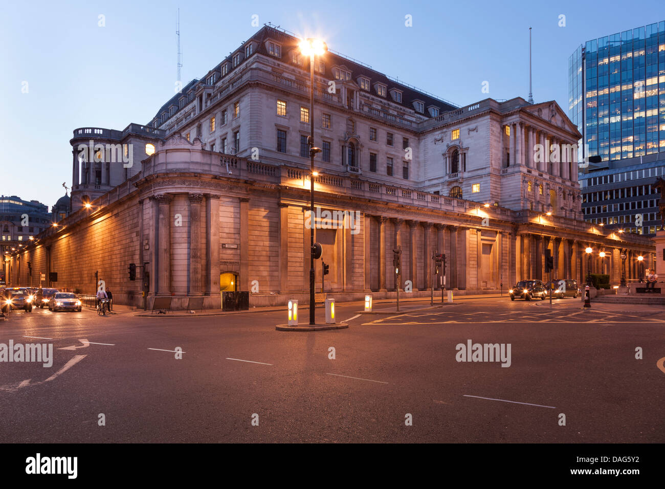 The Bank of England Building at night,view from Bank Junction,City of London,England - Stock Image