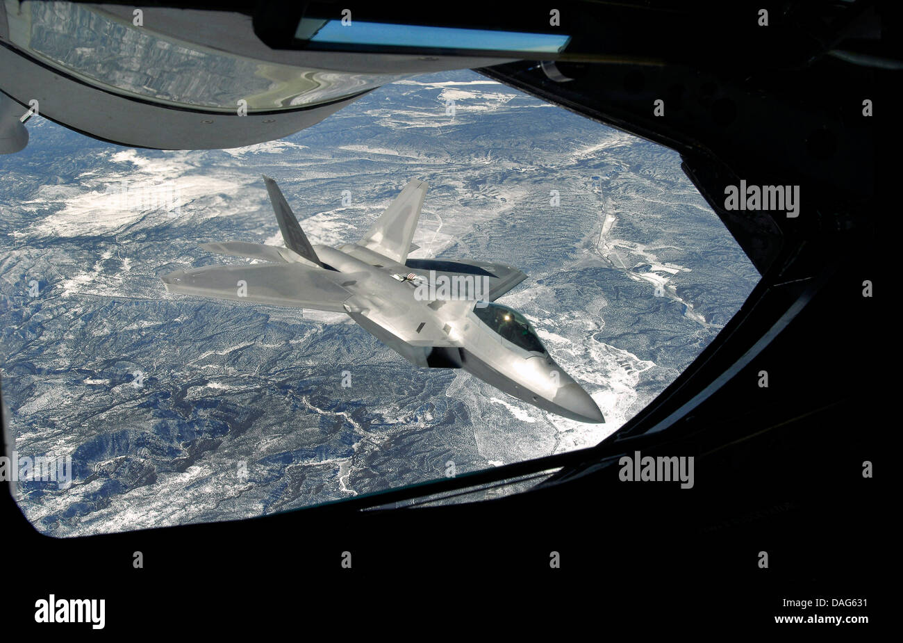 An F-22 Raptor viewed from a KC-135 Statotanker during a refueling operation. Credit U. S Air Force Stock Photo
