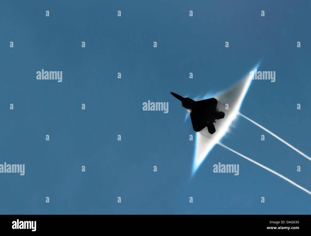 An F-22 Raptor executes a supersonic flyby. Optimised and enhanced version of a  U.S. Navy - Stock Image