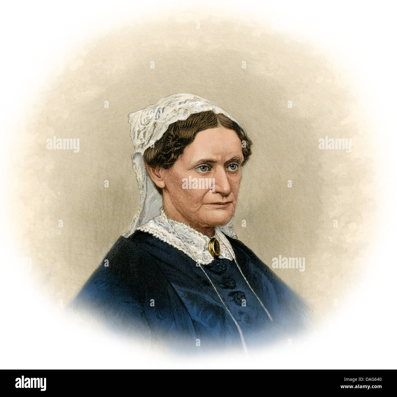First Lady Eliza McCardle Johnson, wife of President Andrew Johson. Digitally colored engraving - Stock Image