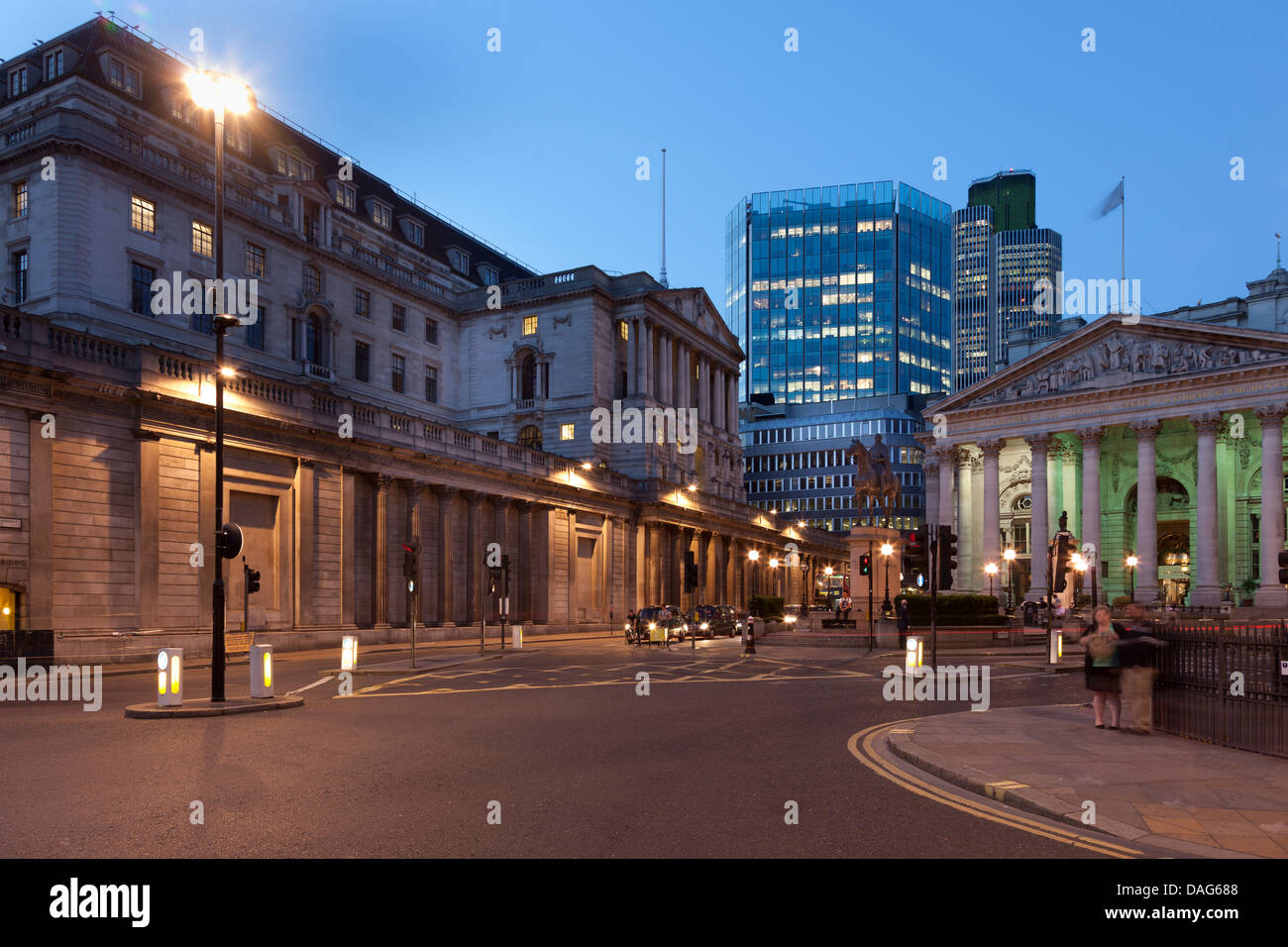 The Bank of England,The Royal Exchange and Tower 42 at night,Bank Junction,The city of London,England - Stock Image
