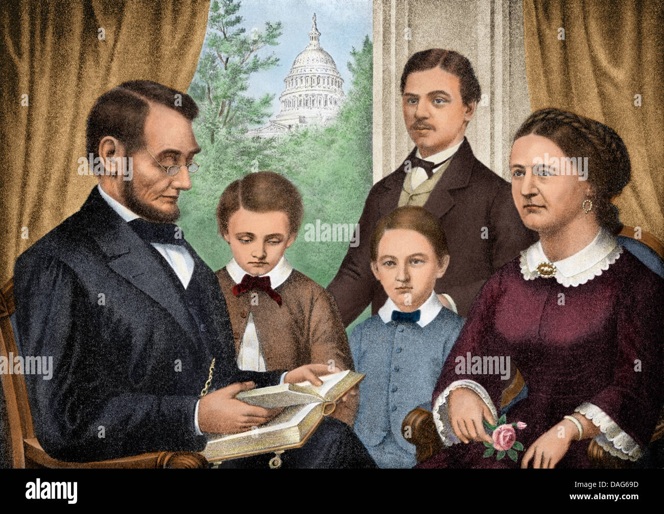 President Abraham Lincoln and his family reading a book in the White House. Digitally colored halftone of an illustration Stock Photo